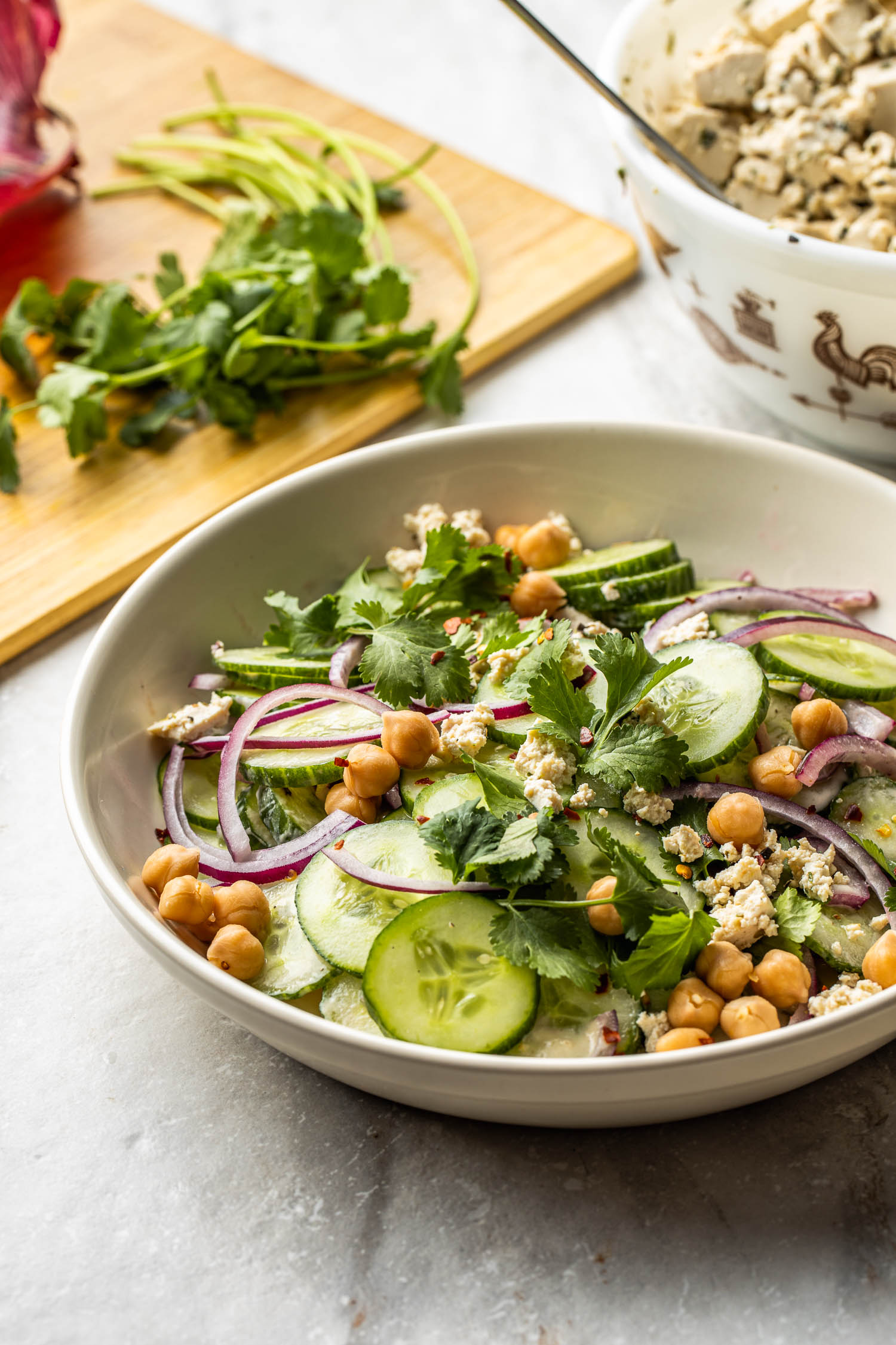 vegan and gluten free cucumber salad with chickpeas