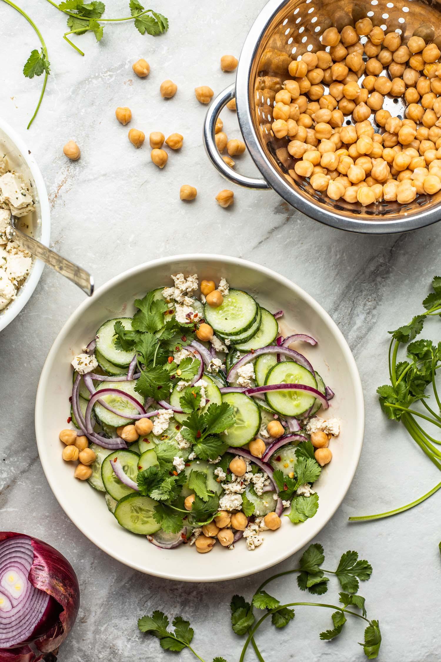 vegan cucumber salad recipe, chickpeas