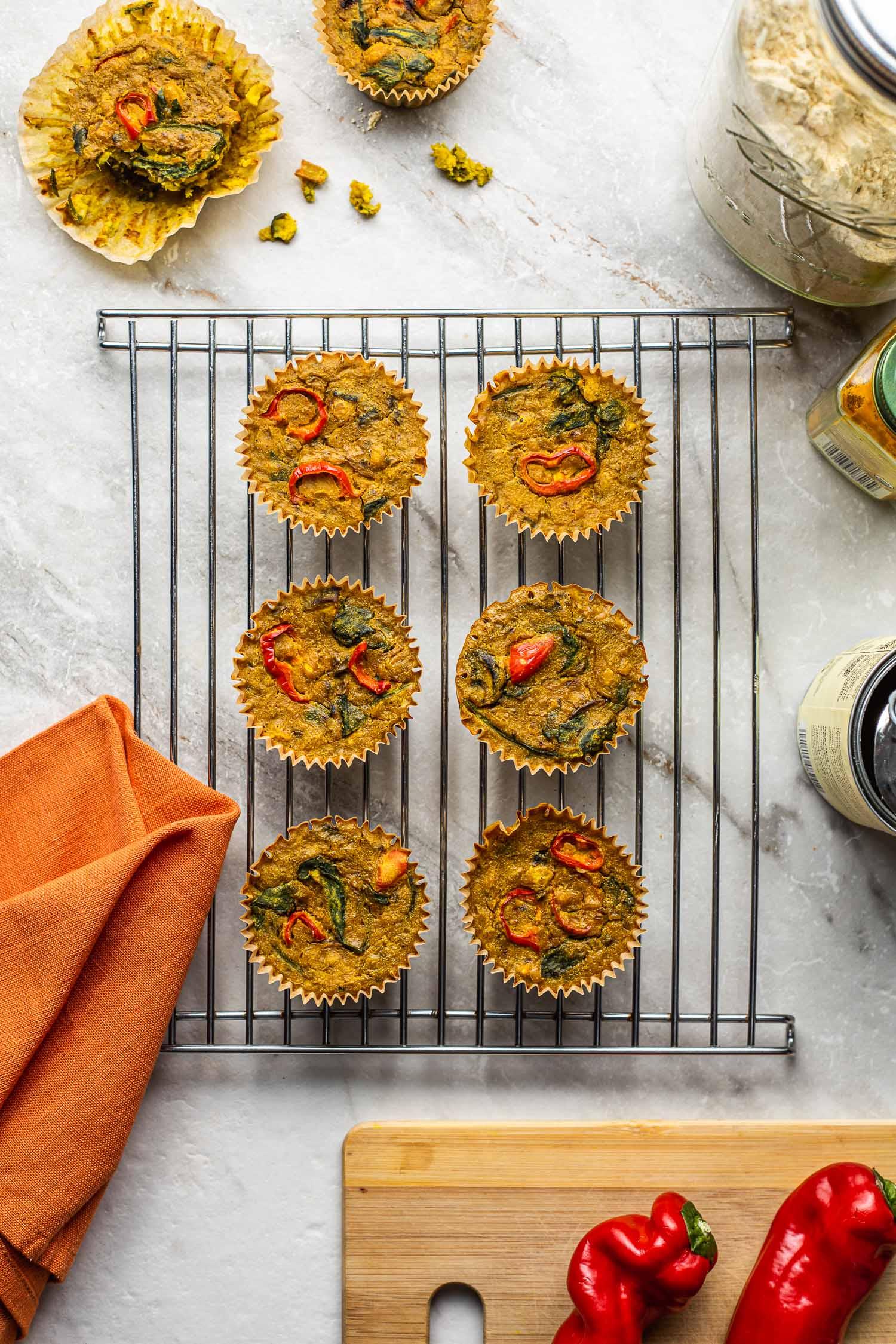 vegan frittata muffins, crustless, vegetarian, quiche
