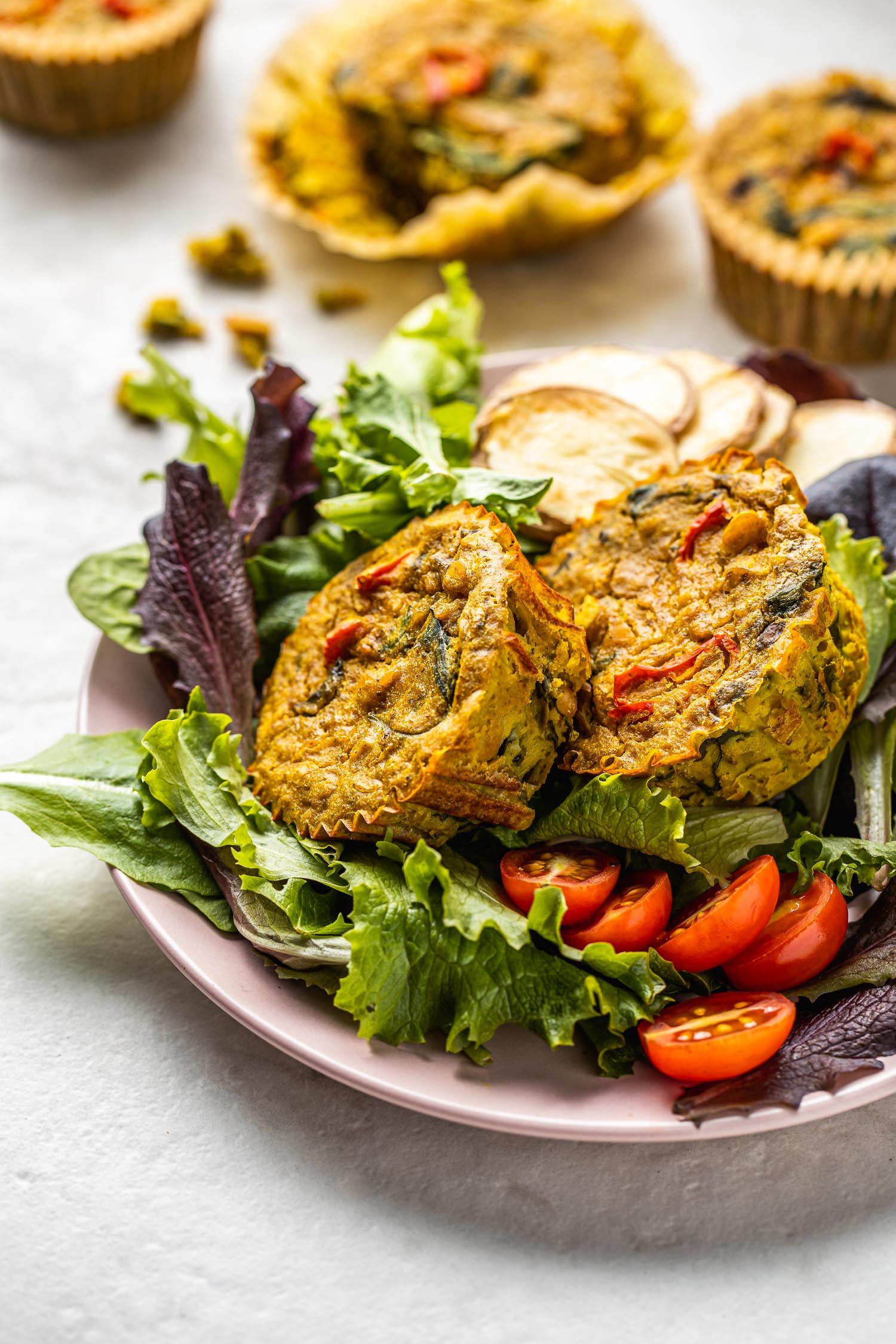 vegan egg breakfast bites, vegetables